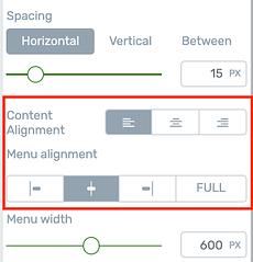 Custom Menu alignment options