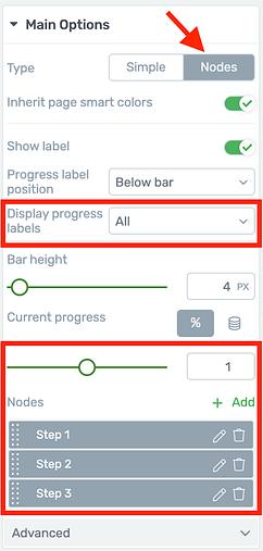 Node Progress Bar display options