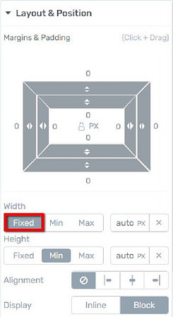 Thrive visual editor fixed width