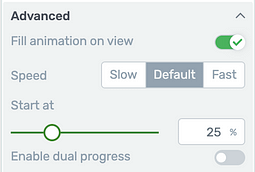 Progress Bar element 'Advanced' display options