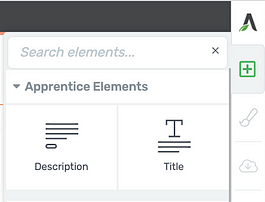 Description element and Title element icons inside the element tray