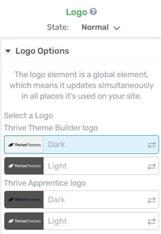 Choosing a Logo variant in the Thrive Visual Editor