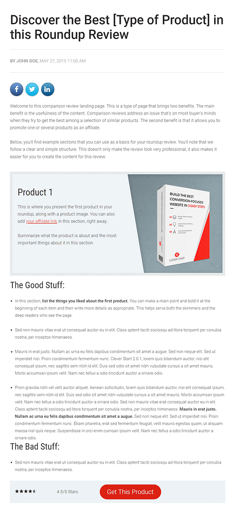 The review comparison landing page template