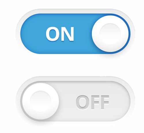 On and off switch UI element in a realistic design style
