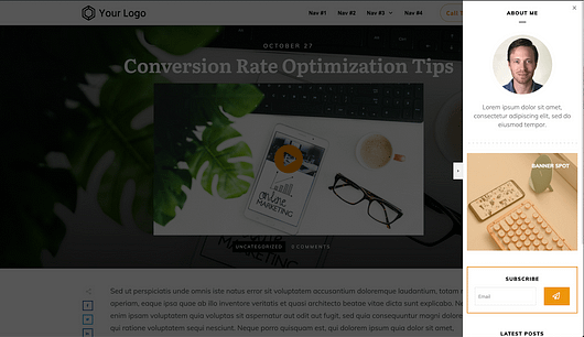 Example of an 'Off screen' sidebar with an 'Over content' sidebar design using an overlay