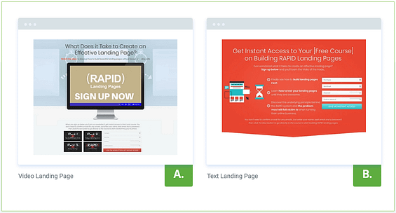 2 lead generation pages competing for subscription rate efficiency.