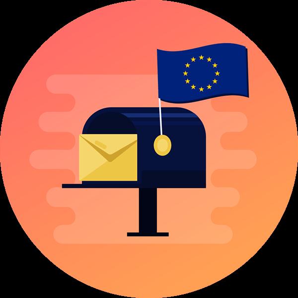 Mailbox with an EU flag