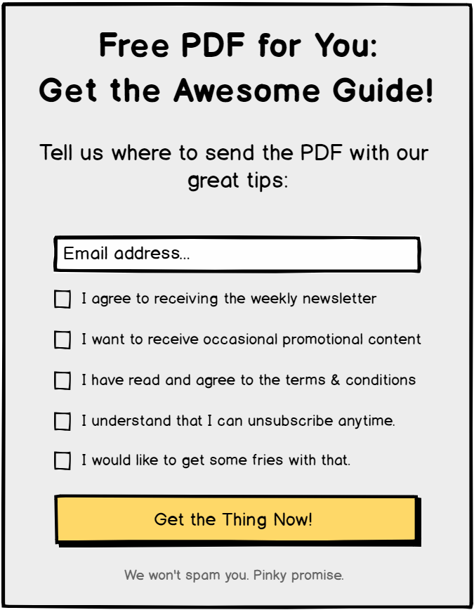 Opt-in form with too many checkboxes. GDPR compliant, but not user friendly.