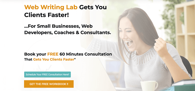 The Web Writing Lab's opt-in offer reading: Get The Free Workbook !!