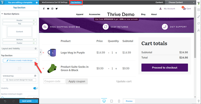 WooCommerce top section
