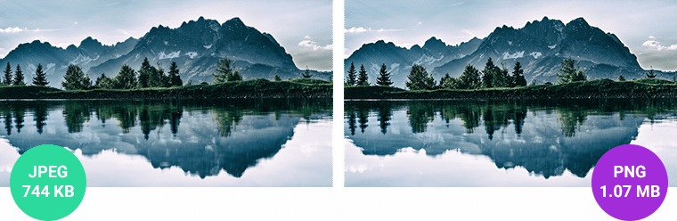JPEG and PNG landscape examples after compression