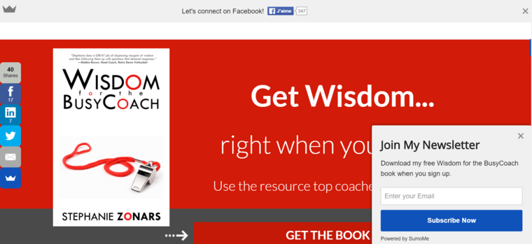 A landing page example showing too many CTAs