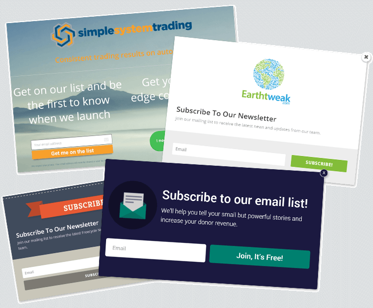 email subscription opt-in page examples