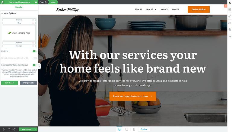 Load your header template design