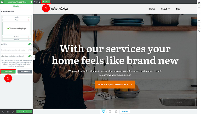 Edit your WordPress header design
