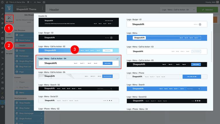 select a default header design