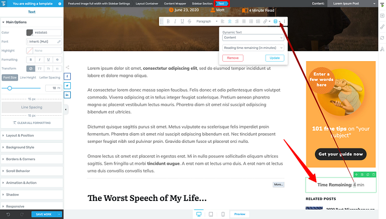 Add your Remaining Reading Time indicator to the middle of your Sticky Sidebar