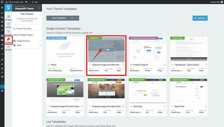 Thrive Theme Builder dashboard