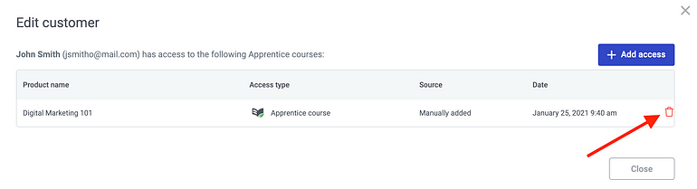Delete access rights for individual customers inside the Thrive Apprentice dashboard