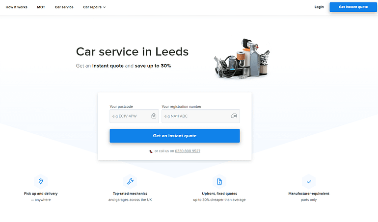 Fixter's website showing a location-focused landing page