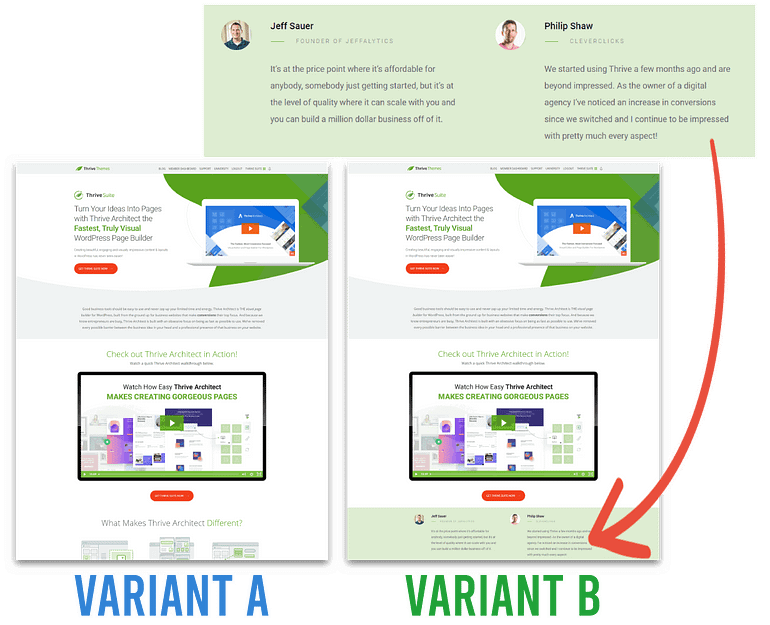 Sales Page Testimonials AB Test - Variants side by side