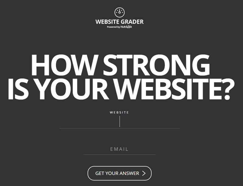 Website grader opt-in page example