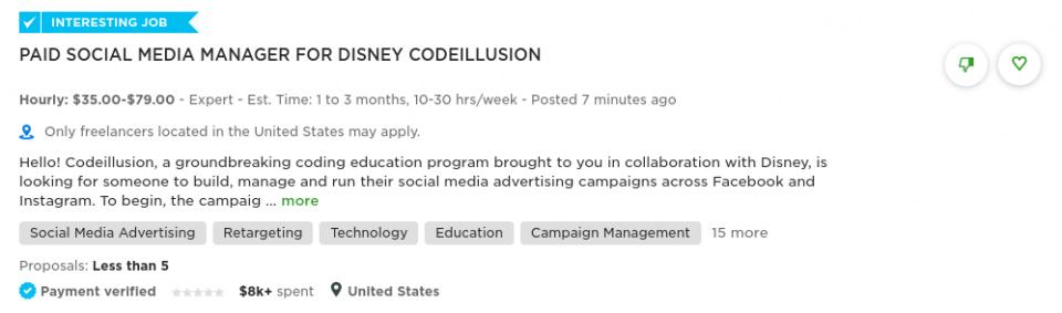 freelance social media manager job