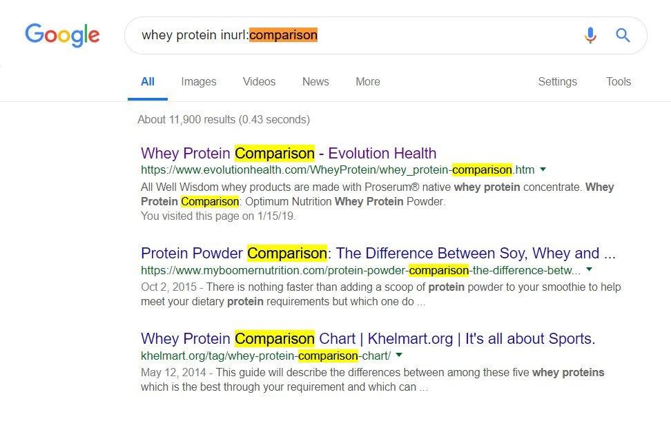 inurl comparison search example