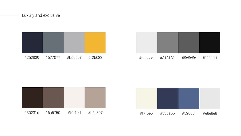 Luxury and exclusive color palettes