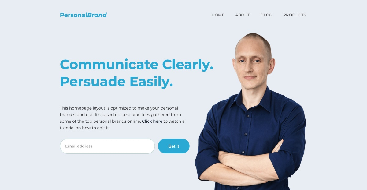 Homepage History - Personal Branding Template available in Thrive Architect