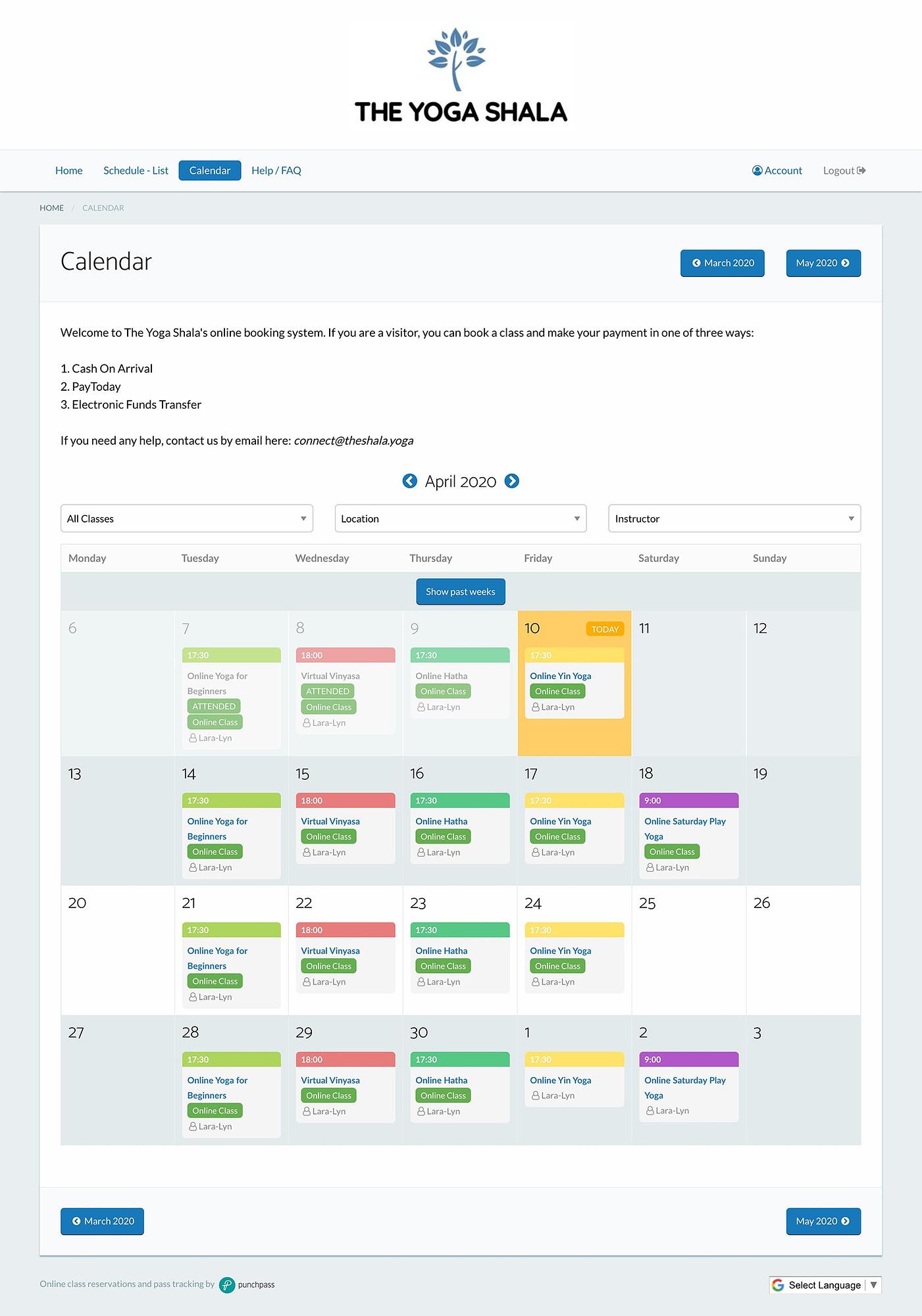 Punchpass dashboard class calendar view