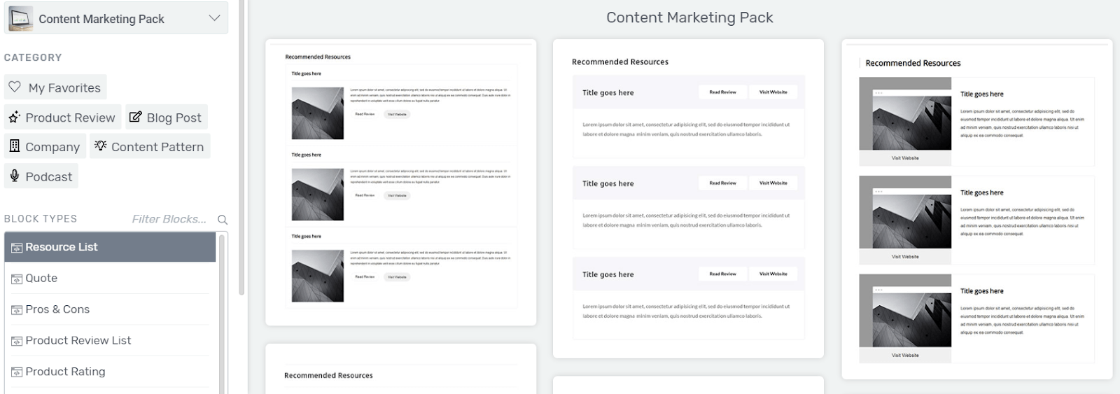 Resources List SEO content
