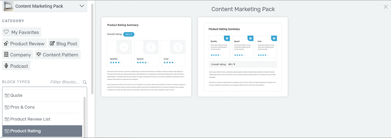 Product Rating Content Blocks