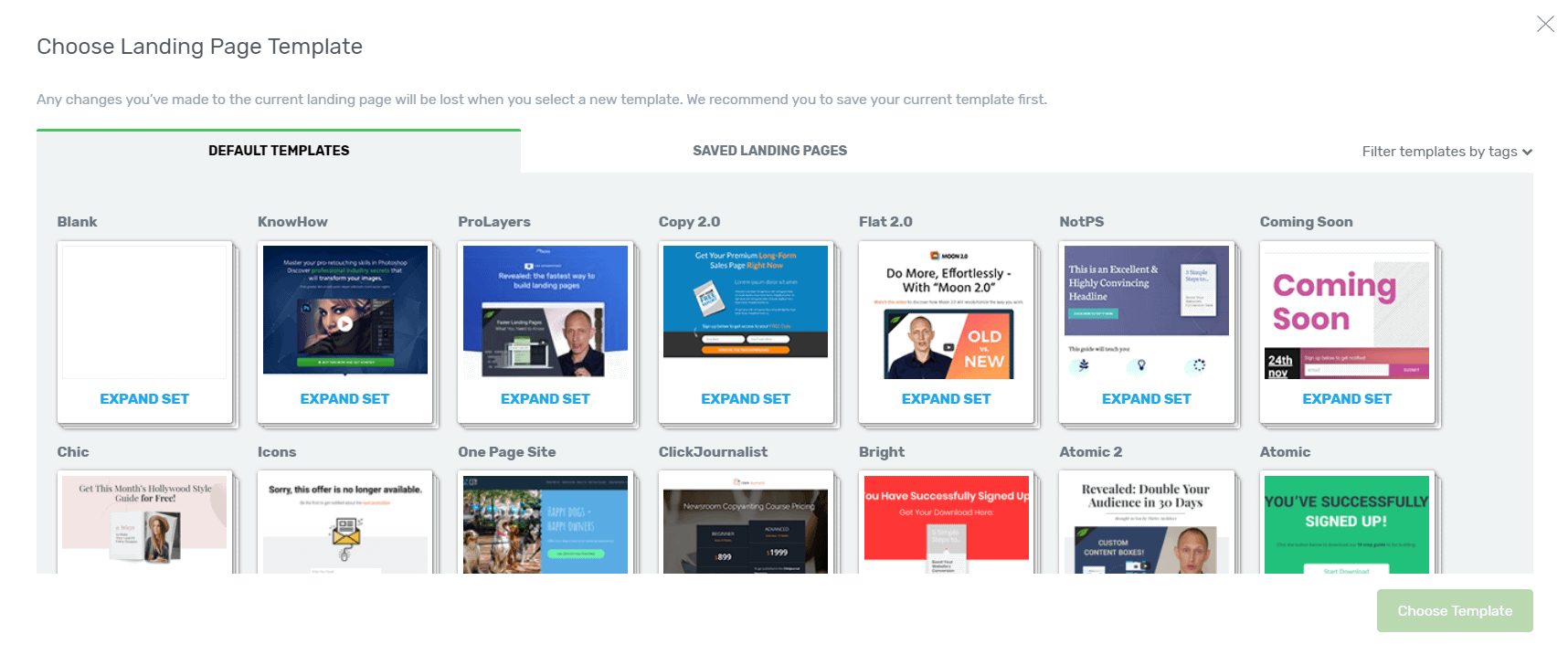 select a landing page