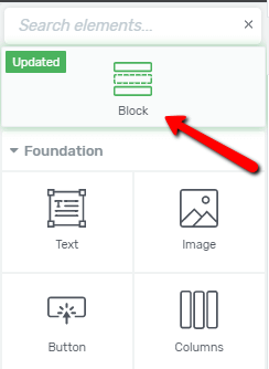 """The Block element in the """"Add Element"""" right sidebar"""