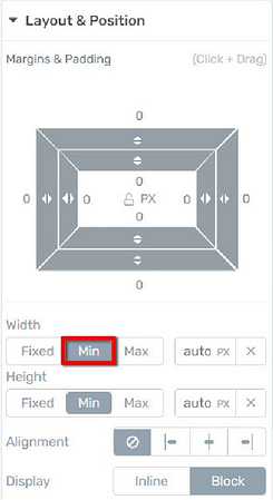 Thrive visual editor minimum width