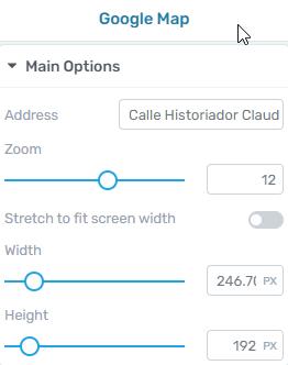 Google Map element sidebar settings