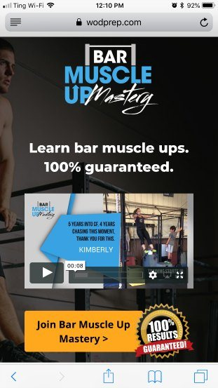 Bar Muscle Up Mastery homepage good example