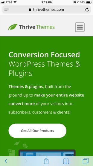 Thrive themes mobile landing page good example
