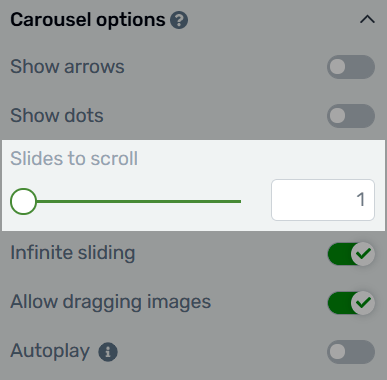 Choosing how many slides to scroll with each click of the carousel arrows