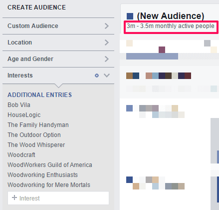 Enter Intrests in Facebook Insights