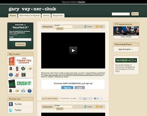 Gary Vaynerchuk's homepage in 2012
