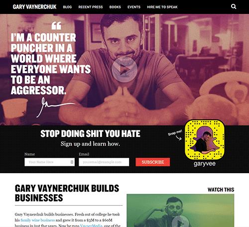 Gary Vaynerchuk's homepage in 2016