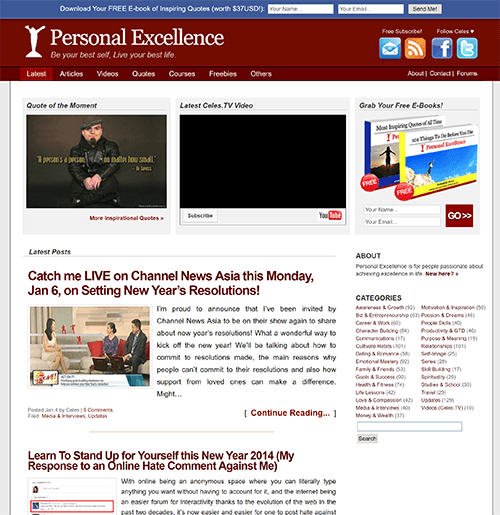 Personal Excellence Homepage around 2014