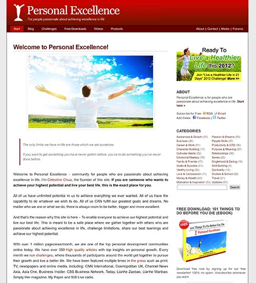 Celestine's homepage around 2012