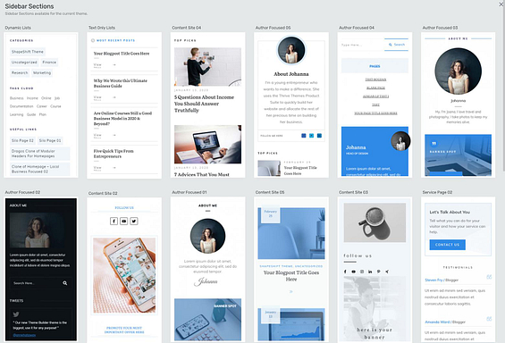 Thrive Theme Builder sidebar template options