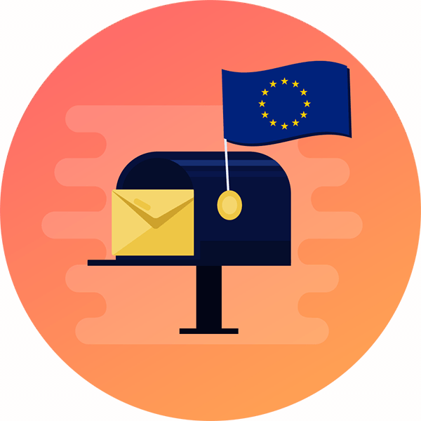 Mailbox with an EU flag