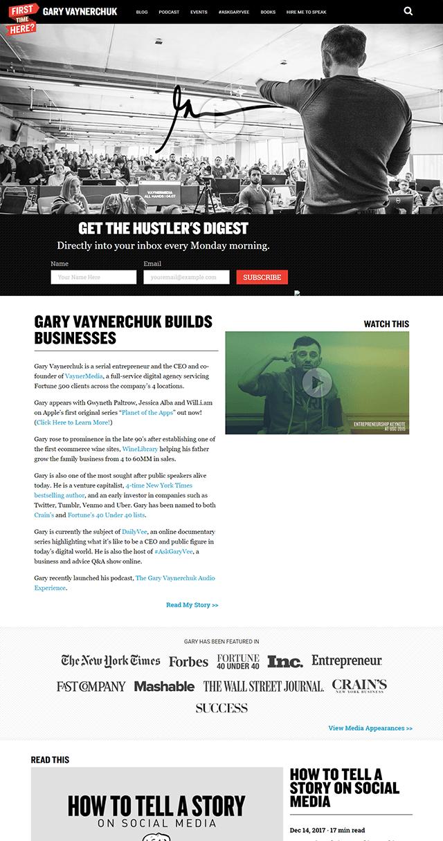 Screenshot of Gary's 2018 homepage