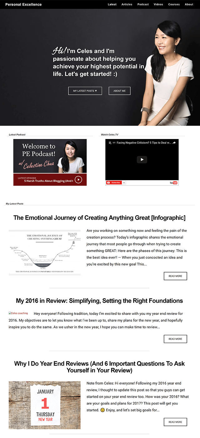 Personal Excellence homepage in 2017