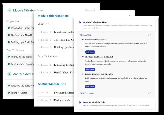Thrive Apprentice Visual Editing Thrive Apprentice Visual Editing Stacked Templates Lesson Lists